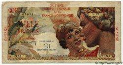 10 NF sur 1000 Francs GUYANE  1961 P.32 TB à TTB