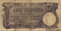 5 Piastres INDOCHINE FRANÇAISE  1916 P.032b B+
