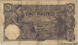 20 Piastres INDOCHINE FRANÇAISE  1917 P.033b B à TB