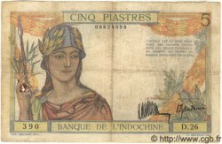 5 Piastres INDOCHINE FRANÇAISE  1935 P.053a TB+