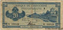 20 Piastres Bleu INDOCHINE FRANÇAISE  1943 P.065 TB à TTB