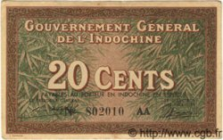 20 Cents INDOCHINE FRANÇAISE  1939 P.086c TTB à SUP
