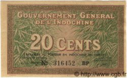 20 Cents INDOCHINE FRANÇAISE  1939 P.086d NEUF
