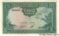 5 Piastres / 5 Riels INDOCHINE FRANÇAISE  1953 P.095s NEUF