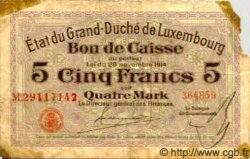 5 Francs /  4 Marks LUXEMBOURG  1914 P.23 B