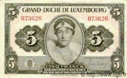 5 Francs LUXEMBOURG  1944 P.43 pr.NEUF