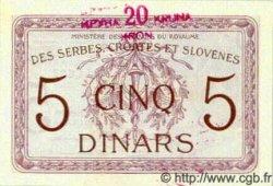 20 Kronen sur 5 Dinara YOUGOSLAVIE  1919 P.016a NEUF