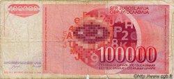 100000 Dinara YOUGOSLAVIE  1989 P.097 B+