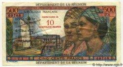 10 NF sur 500 Francs Pointe à Pitre ÎLE DE LA RÉUNION  1971 P.54 TTB+