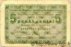 5 Centai LITUANIE  1922 P.02 TB