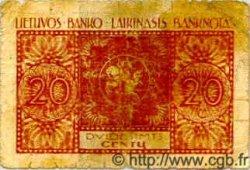 20 Centu LITUANIE  1922 P.03 B