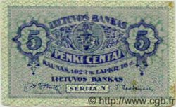 5 Centai LITUANIE  1922 P.09 TB à TTB