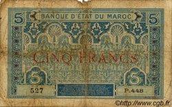 5 Francs MAROC  1925 P.08 B+