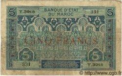 5 Francs MAROC  1934 P.09 TB