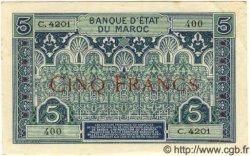 5 Francs MAROC  1942 P.09 SUP+