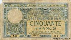 50 Francs MAROC  1924 P.13 pr.TB