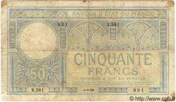 50 Francs MAROC  1928 P.13 B à TB