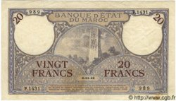 20 Francs MAROC  1942 P.18b TTB