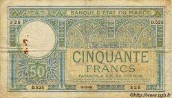 50 Francs MAROC  1931 P.19 B à TB