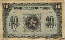 10 Francs MAROC  1943 P.25 TB