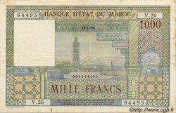 1000 Francs MAROC  1956 P.47 TTB