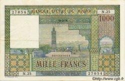 1000 Francs MAROC  1956 P.47 TTB+