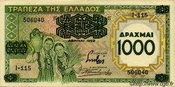 1000 Drachmes sur 100 Drachmes GRÈCE  1939 P.111 SUP+