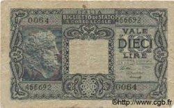 10 Lires ITALIE  1944 P.032a B à TB