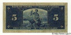 5 Dollars CANADA  1937 P.060a B à TB