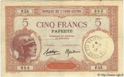 5 Francs TAHITI  1940 P.11c pr.TTB
