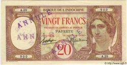 20 Francs TAHITI  1940 P.12c SUP