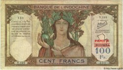 100 Francs TAHITI  1963 P.22A TB