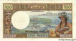 100 Francs (avec République Francaise) TAHITI  1971 P.24a TTB