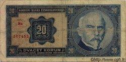 20 Korun TCHÉCOSLOVAQUIE  1926 P.021a B à TB