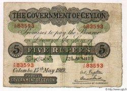 5 Rupees CEYLAN  1919 P.11b B+