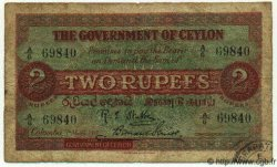 2 Rupees CEYLAN  1917 P.17 B à TB