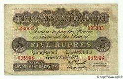 5 Rupees CEYLAN  1929 P.23 TB à TTB