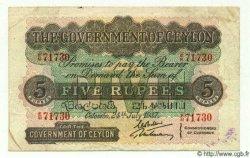 5 Rupees CEYLAN  1937 P.23 TTB