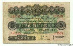 5 Rupees CEYLAN  1938 P.23 TTB