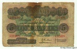 5 Rupees CEYLAN  1939 P.23 AB