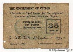 25 Cents CEYLAN  1942 P.40 TB