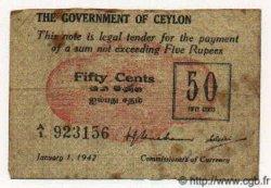 50 Cents CEYLAN  1942 P.41 pr.TB