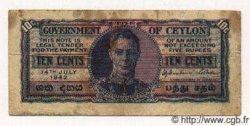 10 Cents CEYLAN  1942 P.43a TB+