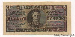 25 Cents CEYLAN  1942 P.44a SUP+