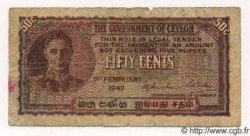 50 Cents CEYLAN  1942 P.45a B+