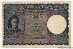 10 Rupees CEYLAN  1948 P.46 TB