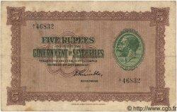 5 Rupees SEYCHELLES  1936 P.03c TB+