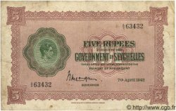 5 Rupees SEYCHELLES  1942 P.08 TB+