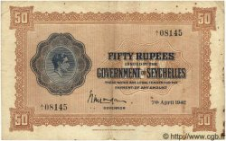 50 Rupees SEYCHELLES  1942 P.10 TTB