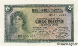 5 Pesetas ESPAGNE  1935 P.085a NEUF